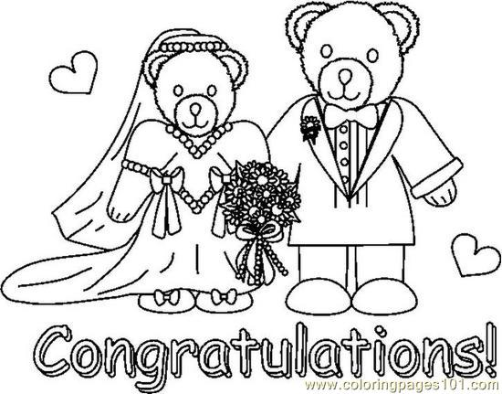Congradsweddingbearsbw Coloring Page