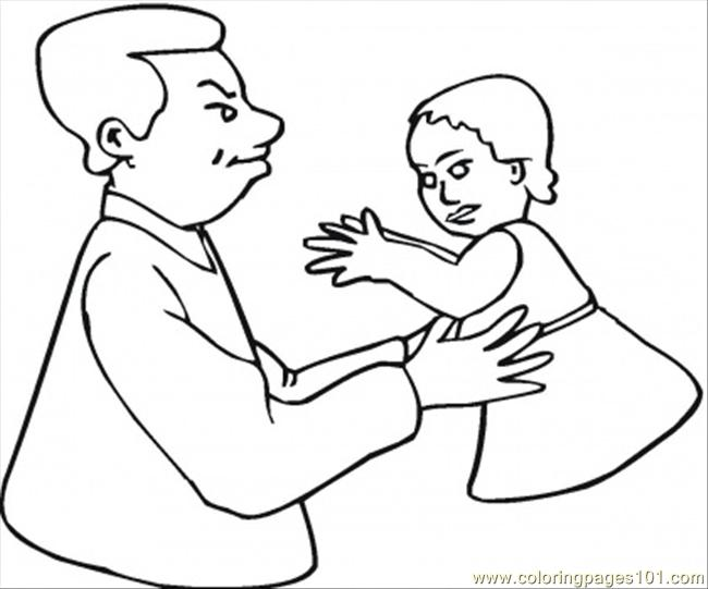 Father With Daughter Coloring Page Free Relationship Coloring