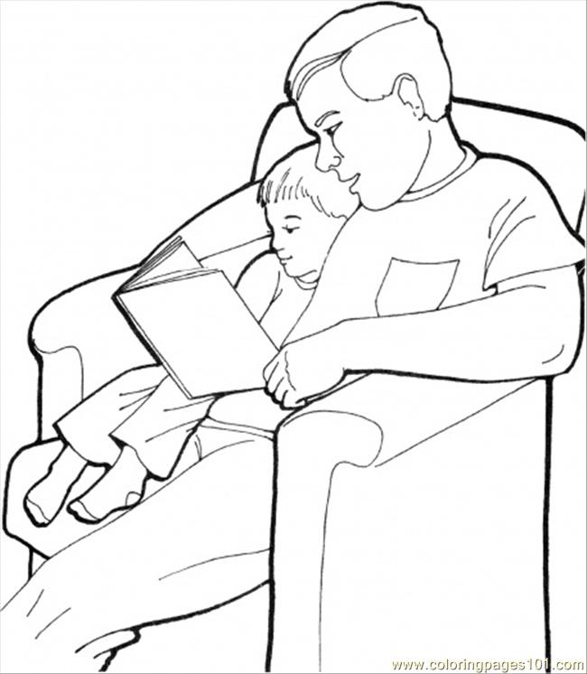 Father With His Son Colorin Coloring Page