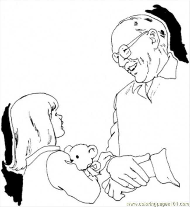 Grandfather Is Playing With Grandchildren Coloring Page
