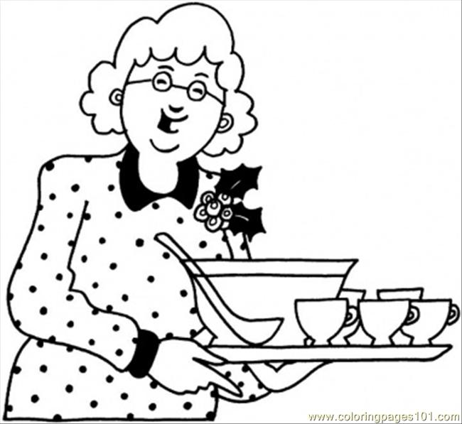 Grandmother With Dinner Coloring Page