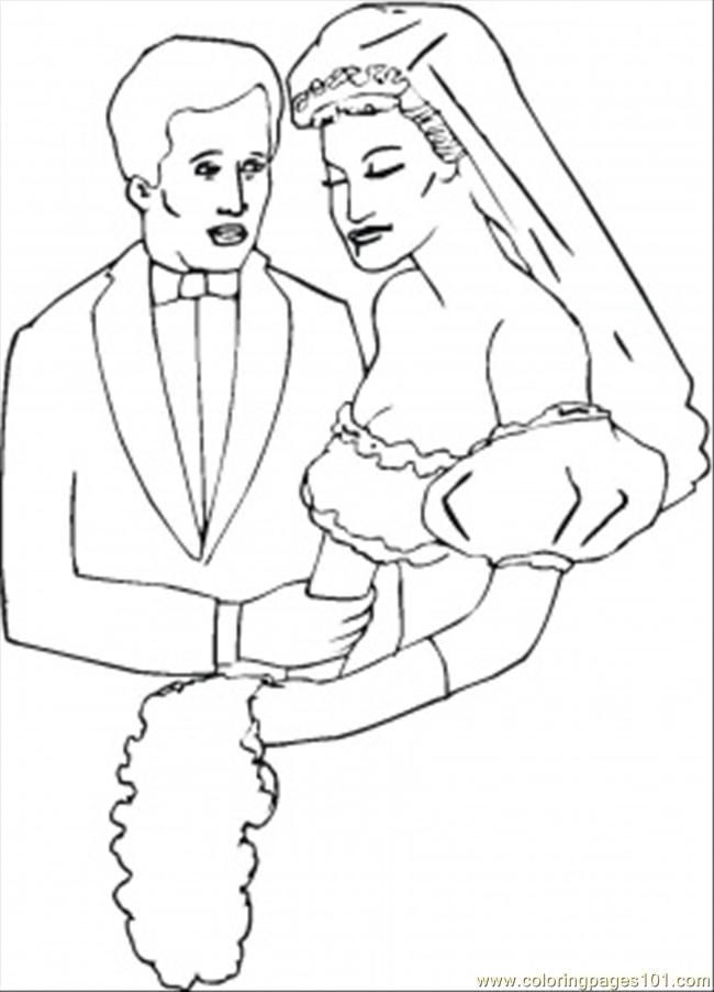 Groom Loves His Bride Coloring Page Free Relationship