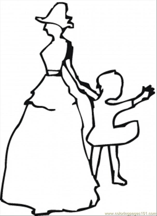 Mom With Little Girl Coloring Page