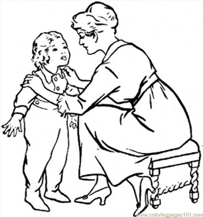 Mother Is Talking To Child Coloring Page