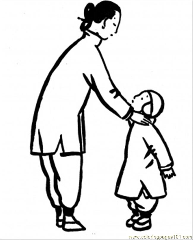 Mother With Little Son Coloring Page