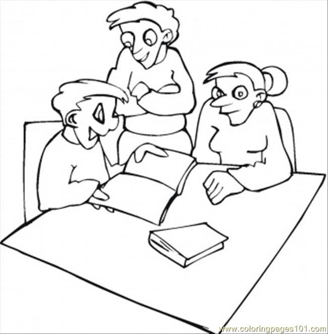 Parents Are Checking Homework Coloring Page