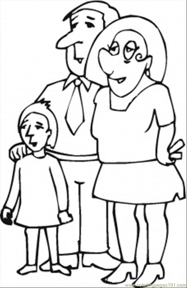 Parents With Their Daughter Coloring