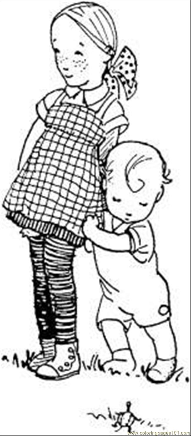 Sister And Little Brother Coloring Page Free