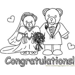 Congradsweddingbearsbw Free Coloring Page for Kids