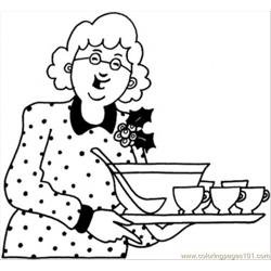 Grandmother With Dinner Free Coloring Page for Kids