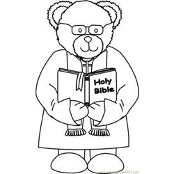 Ministerbear2glassesbw coloring page