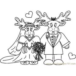 Mooseweddingcouplebw Free Coloring Page for Kids
