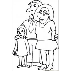 Parents With Their Daughter Free Coloring Page for Kids