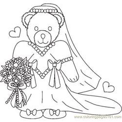 Weddingbearbridebw Free Coloring Page for Kids