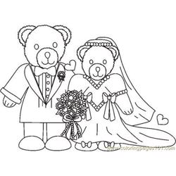 Weddingbearcouplebw Free Coloring Page for Kids