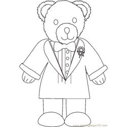 Weddingbeargroombw Free Coloring Page for Kids