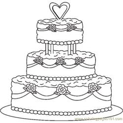 Weddingcake1bw Free Coloring Page for Kids