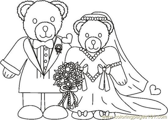 Weddingbearcouplebw Coloring Page