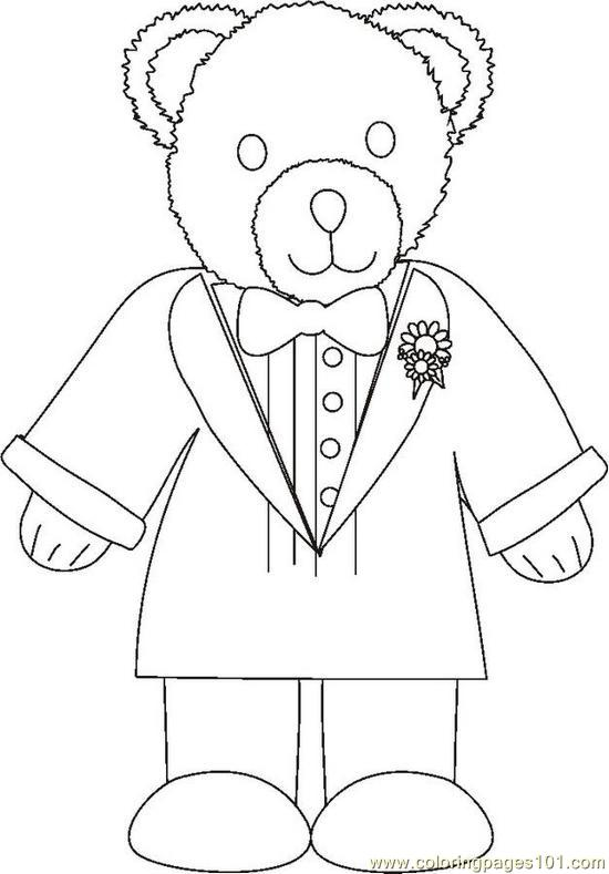 Weddingbeargroombw Coloring Page
