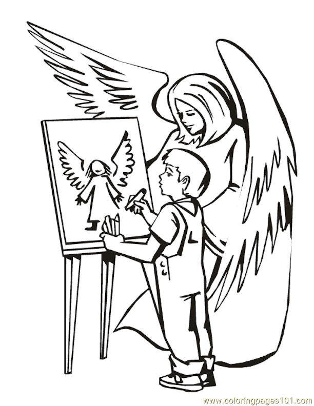 001 Angels 18 Coloring Page