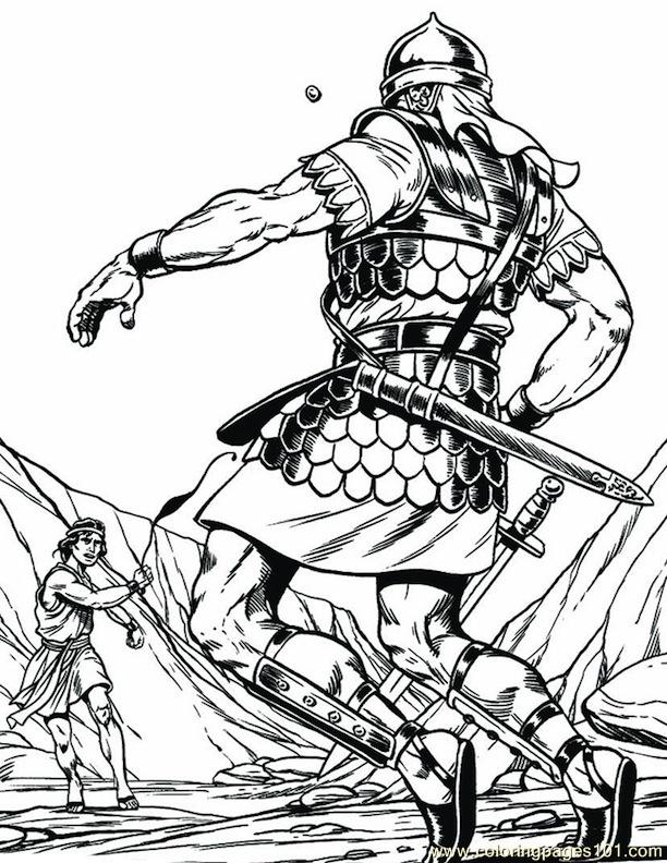 001 David And Goliath 4 Coloring Page For Kids Free Religions Printable Coloring Pages Online For Kids Coloringpages101 Com Coloring Pages For Kids