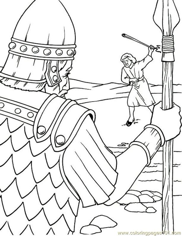 001 David And Goliath 6 Coloring Page Free Religions David And Goliath Pictures To Color