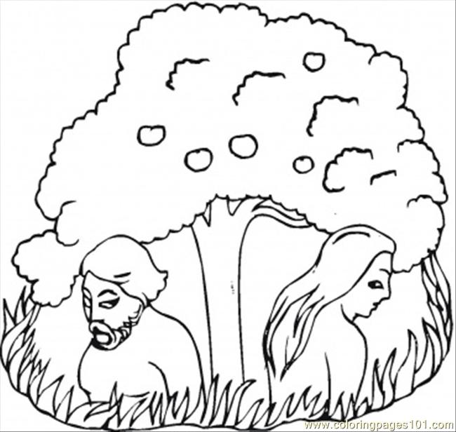 Adam and eve under the tree coloring page free religions for Adam eve coloring pages