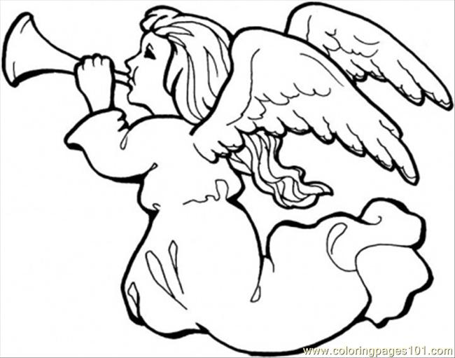 angel with trumpet coloring page
