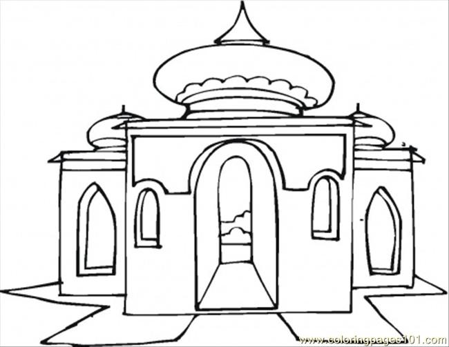 big beautiful mosque coloring page