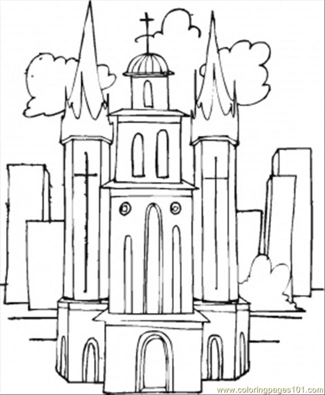 Big Church In The Clouds Coloring Page