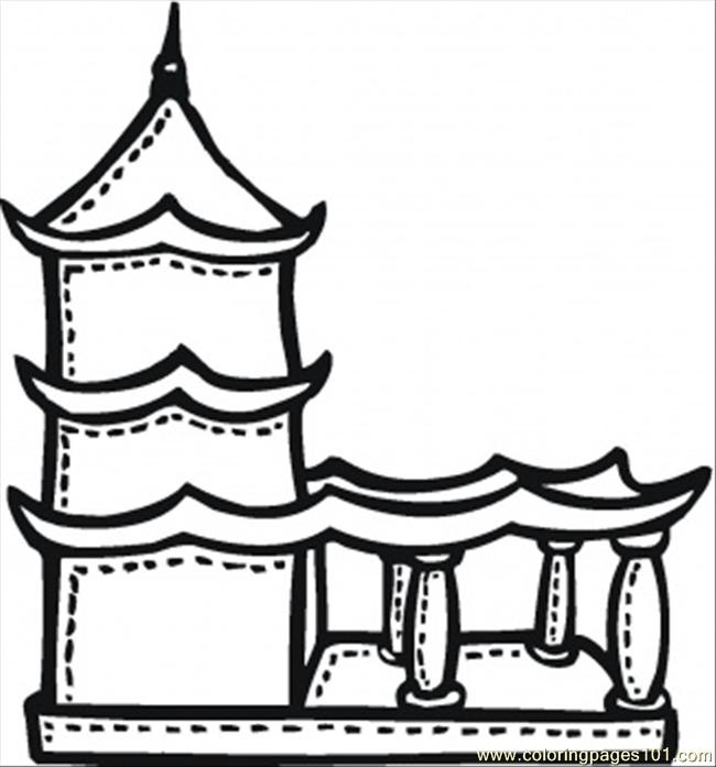 Buddhist Temple With Terrace Coloring Page
