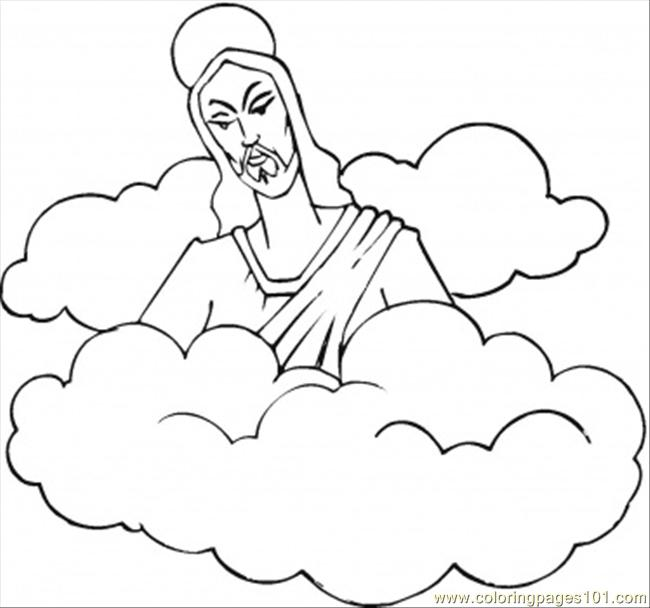 Jesus In The Clouds Coloring Page
