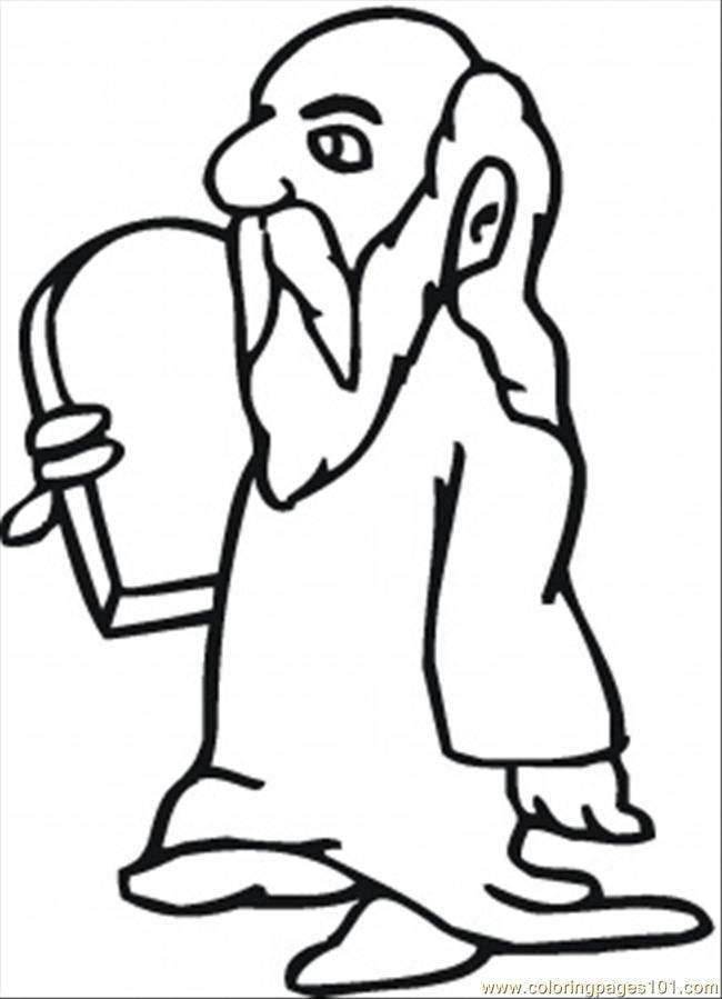 Moses Holds The Tablet Of Law Coloring Page