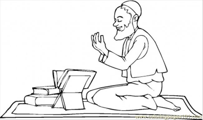 Moslem Read Quran Coloring Page