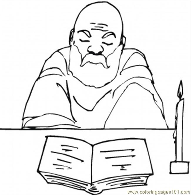Old Monk Reads The Bible Coloring Page