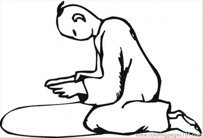 Praying On The Knees Coloring Page