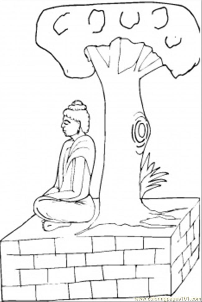 Praying Under The Tree Coloring Page