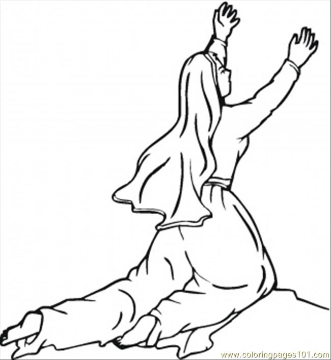Worshiping On The Knees Coloring Page