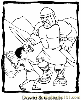 David And Goliath 3 Coloring Page