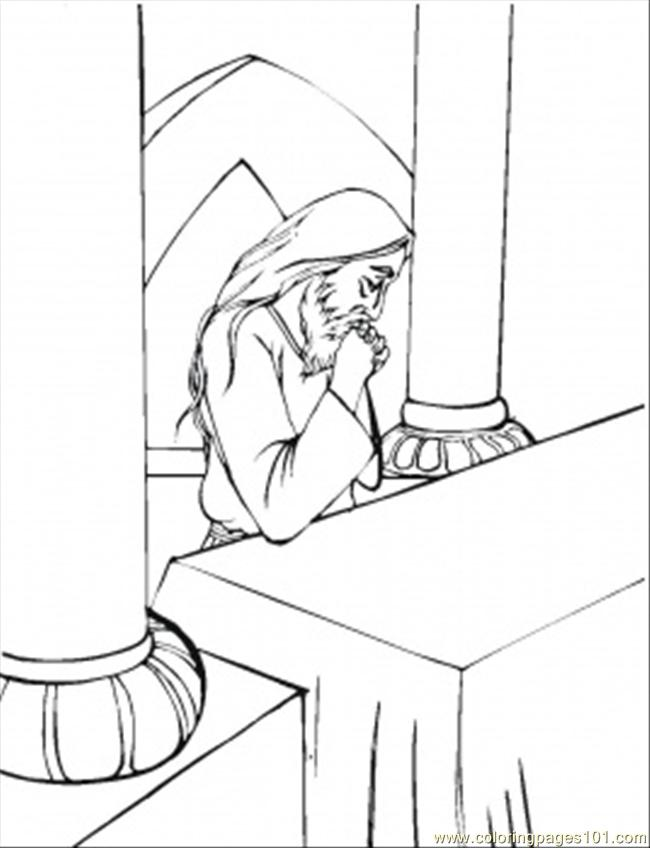 Pray In Temple Coloring Page