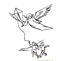 001 Angels 12 Free Coloring Page for Kids