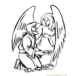 001 Angels 16 Free Coloring Page for Kids