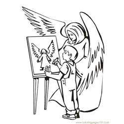 001 Angels 18 Free Coloring Page for Kids