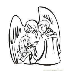 001 Angels 4 Free Coloring Page for Kids