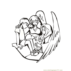 001 Angels 6 Free Coloring Page for Kids