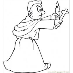 Monk With Candle And Cross