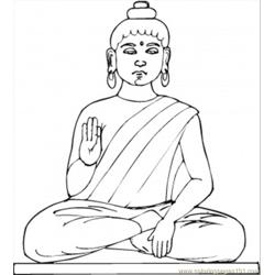 Statue Of Buddha Free Coloring Page for Kids