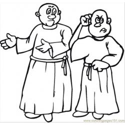 Two Monks Are Discussing Free Coloring Page for Kids