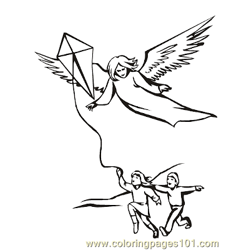 Angels 12 Free Coloring Page for Kids