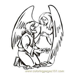 Angels 16 Free Coloring Page for Kids